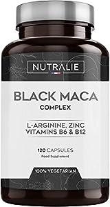 Maca Negra Andina 1200mg por dosis (equivalente a 24.000mg de planta) con L-Arginina, Zinc y Vitaminas B6 B12 | 120 cápsulas vegetales de Maca altamente concentrada 20:1 | Nutralie