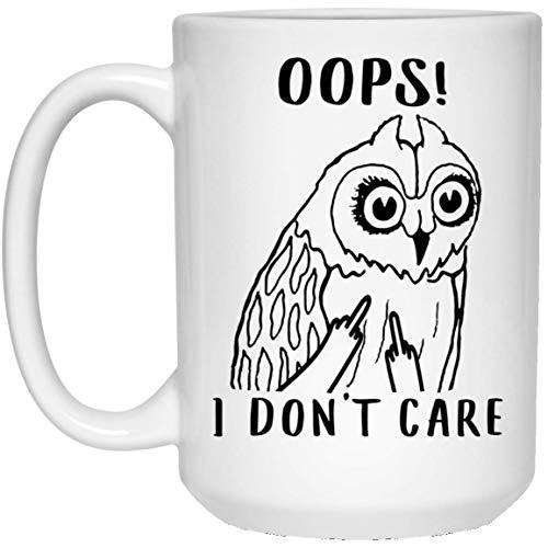 N\A Divertido búho de Orejas Cortas OOP No me Importa el Dedo Medio Taza de café con Leche