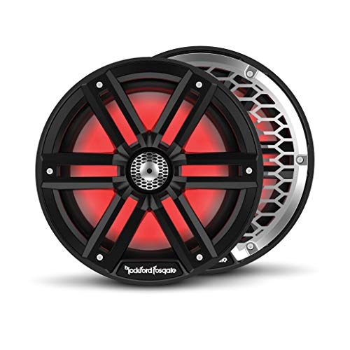 """Rockford Fosgate M2-8B Color Optix 8"""" 2-Way Coaxial Multicolor LED Lighted Marine Speakers -Black/Stainless (Pair)"""