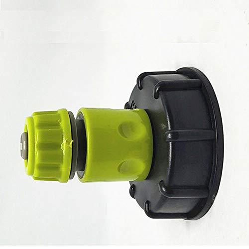 SENRISE Graden - Adaptador de depósito de 3 piezas de plástico para manguera de agua (tapa IBC y tapón de latón)