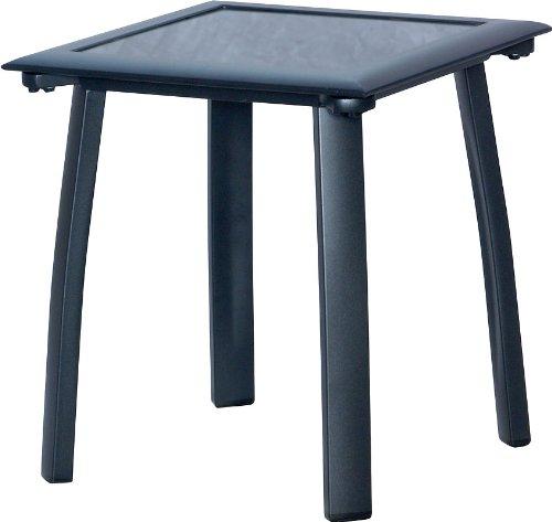 IB-Style - Table Basse Diplomat alu Noir/Verre Noir 41x41 cm pour Bain de Soleil et pour Salon de Jardin