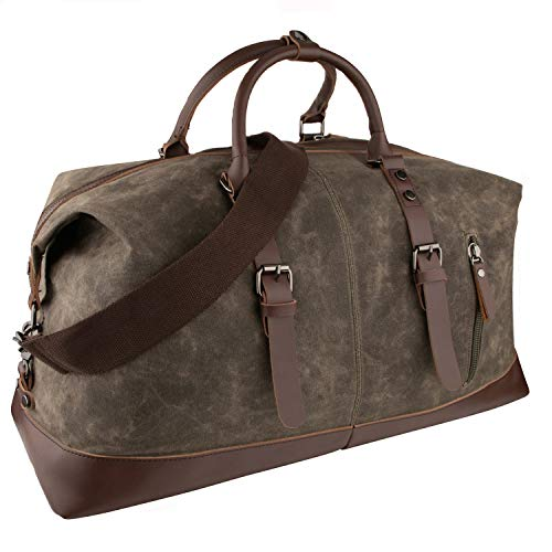 GENESS Große Reisetaschen, Leder Wochenend Tasche, Unisex Vintage Handgepäck Seesack Vintage Handtasche Sporttasche Segeltuch Wasserdicht Reisegepäck Schultertasche Umhängetasche Ledertasche