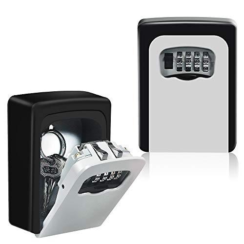 HUSAN Schlüsseltresor mit 4-stelligem Zahlencode, zur Wandmontage, Schlüsselsafe für Außen & Innen für Zuhause, Garage, Schule, Ersatzschlüssel (Schwarz)
