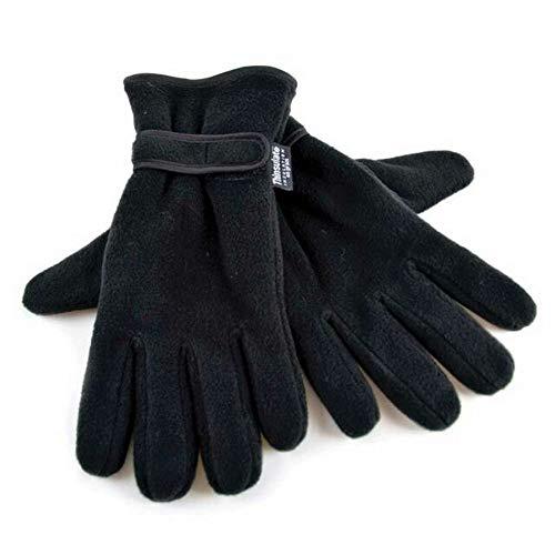 Floso - Gants thermiques en polaire Thinsulate - Homme (L/XL) (Noir)
