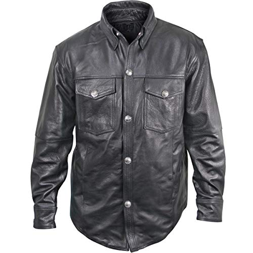 Mens Black Leather Shirt with Buffalo Buttons