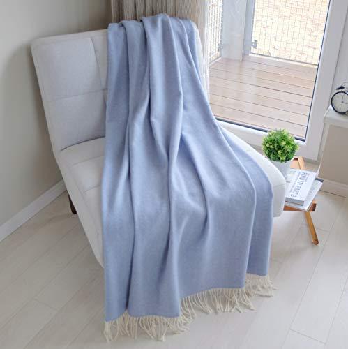 Linen und Cotton Klassische Decke Wolldecke Merino Wolle Wohndecke Kuscheldecke STONEWOLD mit Fischgrätenmuster -100prozent Merinowolle, Himmel Blau (140 x 200 cm), Sofadecke Tagesdecke Überwurf Plaid Sofa