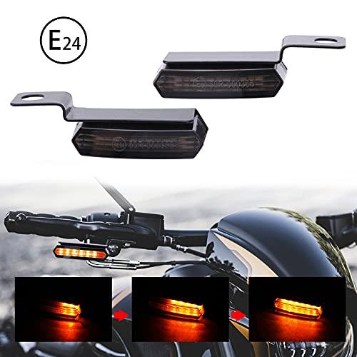 JMTBNO Intermitentes Moto Mini Indicadores de Motocicleta Ámbar LED Luces de Señal de Giro Luz de Manillar que Fluye E-24 12V para Har-ley Cruiser Chopper Scooter Cafe Racer