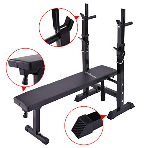 JAXPETY Adjustable Folding Weight Lifting Flat Incline Bench Fitness Workout Bench for Full Body Exercise New