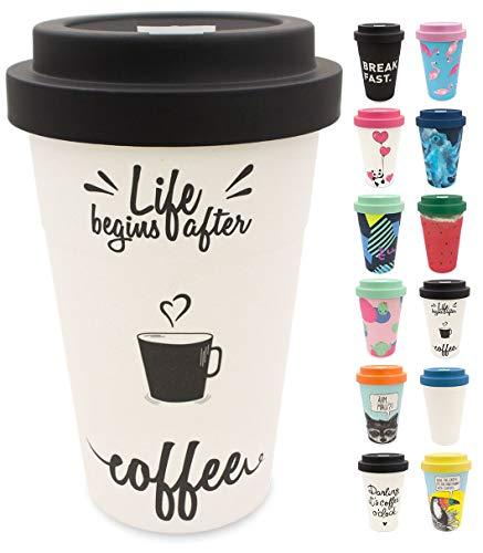 holi. Coffee-to-Go Bambus-Becher mit Schraubdeckel, vegane Filz-Manschette | nachhaltiger Kaffeebecher mit Verschluss | Mehrweg-Becher Bamboo-Cup | Woodcup spülmaschinenfest (After Coffee)