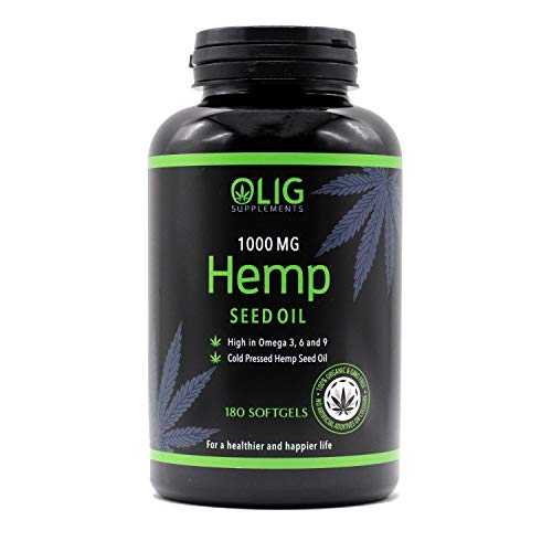 OLIG Supplements Hemp Seed Oil 1000mg – 180 Capsules – Green, Unbleached Oil - Supports Heart, Brain, Skin, Healthy Circulation - Increases Energy & Enhances Mood – Natural Anxiety Relief