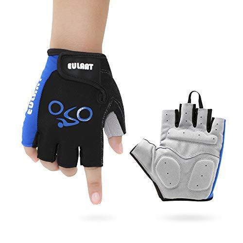 ONT Fahrradhandschuhe Fitness Handschuhe Damen Herren Trainingshandschuh Adjustable Sporthandschuhe für Radsport Camping Fingerlose Handschuhe Blau/M