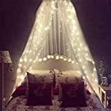 Mosquito Net for Bed, Bed Canopy with 100 led String Lights, Ultra Large Hanging Bed Curtain Netting for Baby, Kids, Girls or Adults. 1 Entry,for Single to King Size Beds, Camping, Patio (White) ……