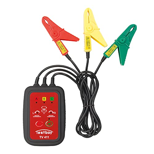 Testboy TV 411 kontaktloser Drehfeld- und Rotationstester (schnell zu erfassende LED-Anzeige, integrierter Rotationstester, kontaktlose Messung), Rot/Schwarz