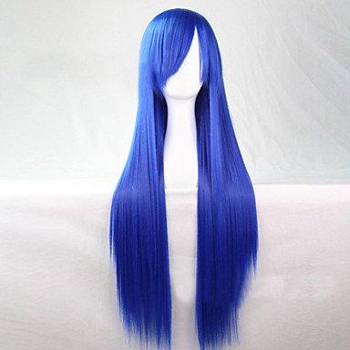 jiayy – droits perruque cheveux synthétique – Pour Femmes, Light Blue