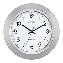 La Crosse Technology WT-3144S 14 Inch Atomic Analog Silver Wall Clock