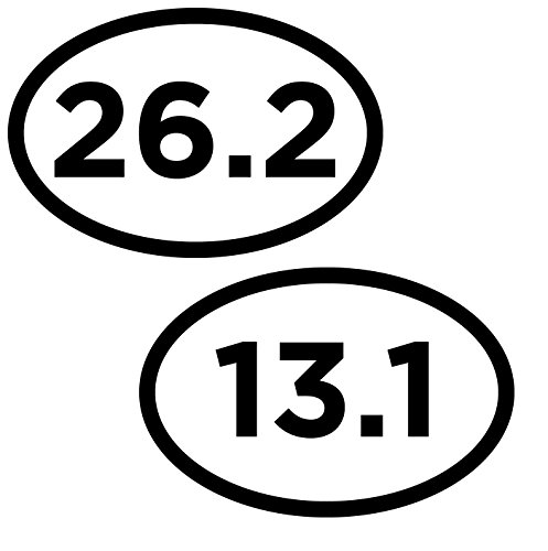 Artisan Owl Marathon 13.1 26.2 White Oval Car Magnets - 4x6 Oval Automobile Magnet Heavy Duty UV Waterproof - 2 Magnets Combo Pack