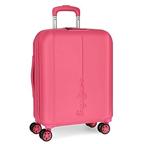Pepe Jeans Glasgow Maleta de cabina Rosa 40x55x20 cms Rígida ABS Cierre TSA 37L 3,2Kgs 4 Ruedas dobles Extensible Equipaje de Mano