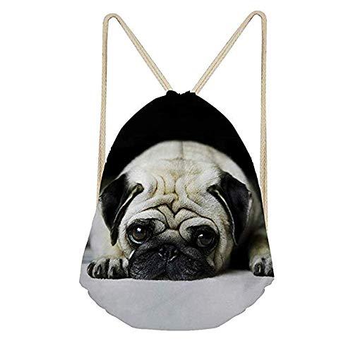 Funny Pug Dog 3D Print Gym Sack Bag Drawstring Backpack Sport Bag for Men Women