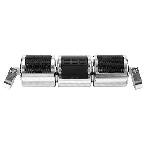 Terisass Altoparlante Bluetooth per Moto Manubrio, 12V Impermeabile Motorcycle Audio Systems Supporto MP3 USB/TF Card Argento
