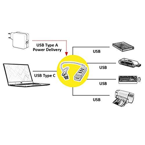 ROLINE USB 2.0 Notebook Hub   4 Ports   Typ A + USB-C Anschlusskabel   für Daten und Stromversorgung
