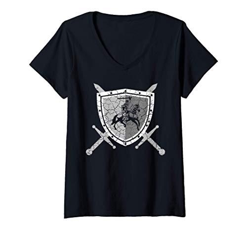 Damen Ritterrüstung mit Löwen am Brustpanzer Mittelalter Ritter T-Shirt mit V-Ausschnitt
