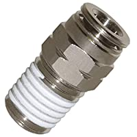 Utah Pneumatic Push to Connect Fittings Nickel-Plated Brass Pc Straight Male 1/4