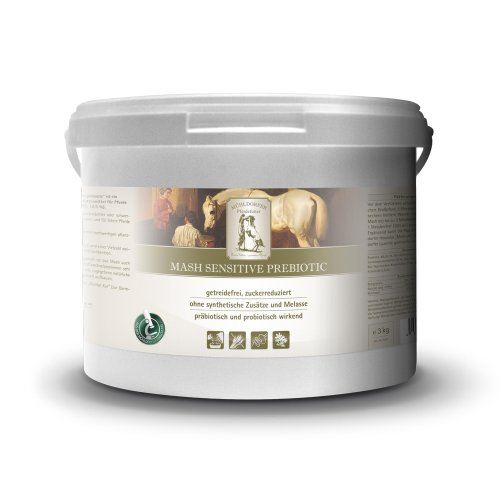 Mühldorfer Mash Sensitive Prebiotic, 3 kg, paardenvoeding met rijstzetmeel en suikergereduceerd paardenvoeding, voor het voeden van magere of zwaarvoedende paarden