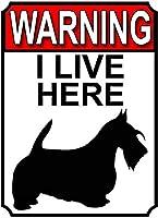 警告私はここに住んでいます壁の金属のポスターレトロなプラーク警告ブリキの看板ヴィンテージ鉄の絵画の装飾バーガレージカフェのための面白いハンギングクラフト