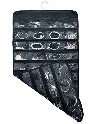 Tabenter doppelseitiger Schmuck-Hängeorganizer für kleine Werkzeuge, mit 80 transparenten Taschen schwarz