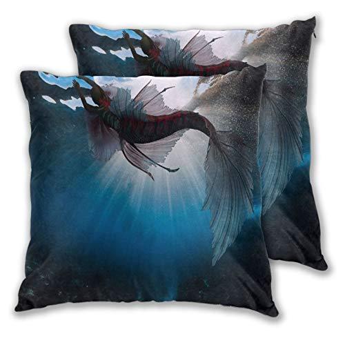 ALLMILL Juego de 2 Decorativo Funda de Cojn,Disfraz Mujer Sirena Submarina Fantasa,Funda de Almohada Cuadrado para Sof Cama