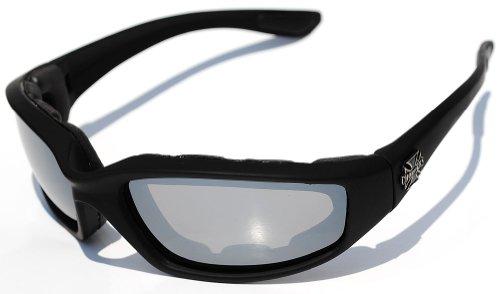 Choppers Motorista de la Motocicleta Acolchado Gafas - Colores Varios Lente Disponibles! 100 5.5W x 1.625h Negro - Lente de Espejo