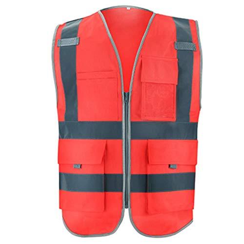 Vest Reflecterende Veiligheid Hi Vis Vest Werkkleding Veiligheid Gilet Reflecterende Securite Veiligheid Vest Reflector Mouwloos Jas XL-Chest124cm Rood