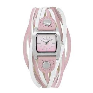 Kahuna orologio analogico donna cinturino multi stringhe rosa e bianco