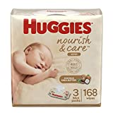 Huggies Nourish & Care Baby Wipes,  3 Packs, 168 Wipes Total