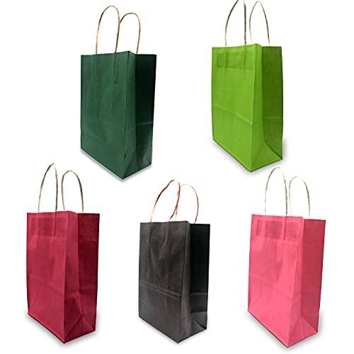 15 piezas Bolsas Papel 21 * 15 * 8CM,Colorful de Papel Negro,Bolsas de Papel con Asas,Bolsas Papel Kraft,Bolsas Regalo(Espesar 130gsm) (Colorful)