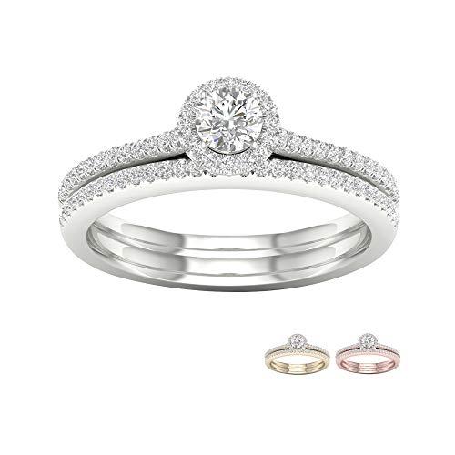 10k White Gold 3/8Ct TDW Solitaire Diamond Halo Engagement Ring for Women(I-J,I2) (0.375 Ct Diamond)