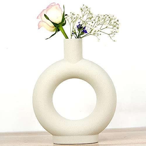 ASNOMY Floreros de cerámica, Jarrones Floreros Decorativos, Jarrones de Cerámica Creativa para Cocina, Oficina o Sala de Estar, floreros Abstractos geométricos Modernos para decoración del hogar