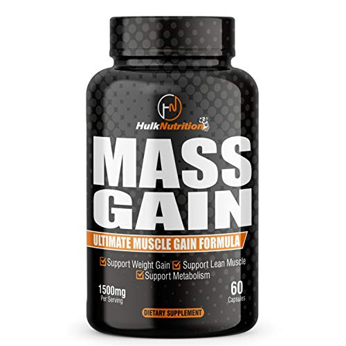 Hulk Nutrition Bulk Gain Mass & Weight Gainer Capsule for Fast Weight & Muscle Gain, Daily Muscle Building Weight Lifters Supplement for Muscle Growth, Stamina & Strength, For Men & Women - 60 Cap.