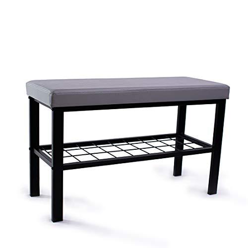 Zedelmaier Schuhregal Schuhschrank mit Sitzbank, gemütliches Sitzpolster mit Kunstleder, ideal für Flur, Bad, Wohnzimmer und Diele