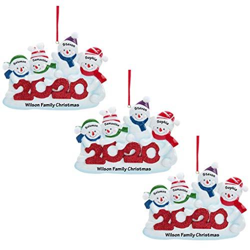 Xiongz Decoración de árbol de Navidad DIY bolas muñeco de nieve personalizado sobrevivió familia de ornamento 2020 árbol de Navidad decoración del hogar regalos de Navidad (color: C)