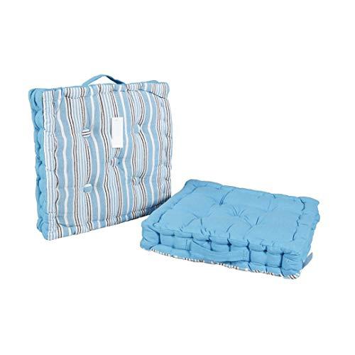 LEYENDAS Cojin para Silla de 40 x 40 x 8 cm para Interior y Exterior de 100% algodón cojín Acolchado/cojín para el Suelo (Rayas/Azul, 1)