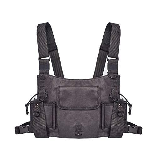 ZZYLHS Borsa Petto Borsa da Uomo Nera Borsa A Marsupio Marsupio Marsupio Tasca for Fondina Tasche for Gilet Tasche Tattiche Streetwear (Color : Black)