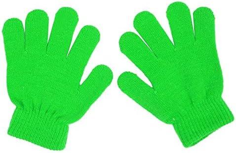 a maniche lunghe in tinta unita AIUII Guanti invernali per bambini e bambine elasticizzati