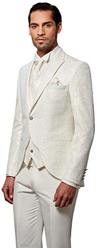 Herren Smoking Anzug - 8 teilig - Cremeweiß Ivory Spitzenstoff - Designer Hochzeitsanzug, 3 Farben zur Auswahl für den modernen Gentlemen, EIN Anzug der Superlative NEU PC_24 (48, Creme Weiß)