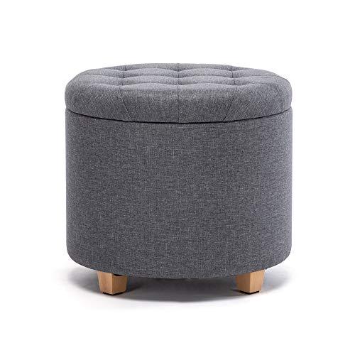 HNNHOME 45 cm redondo lino acolchado asiento otomano almacenamiento taburete caja taburete taburete