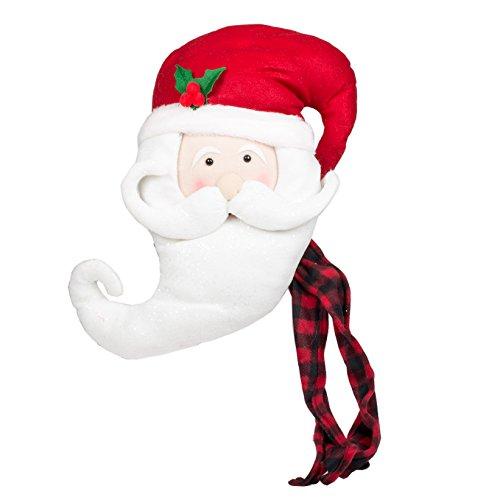 JWM Oxbay Santa Claus Head with Buffalo Plaid Scarf 17 x 12 Plush Fabric Christmas Tree Topper