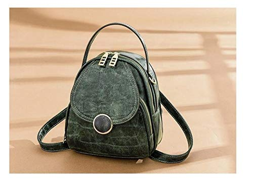 YYMMQQ Sac à Dos d'extérieur,Fashion Quality Soft Leather Vintage Shoulder Backpack Bag Women Multi-Function Samll Backpack Travel Purse Phone Bags,Army Green