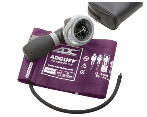 ADC - 703-11AV Diagnostix 703 Palm Style Aneroid Sphygmomanometer with Adcuff Nylon Blood Pressure Cuff, Adult, Purple