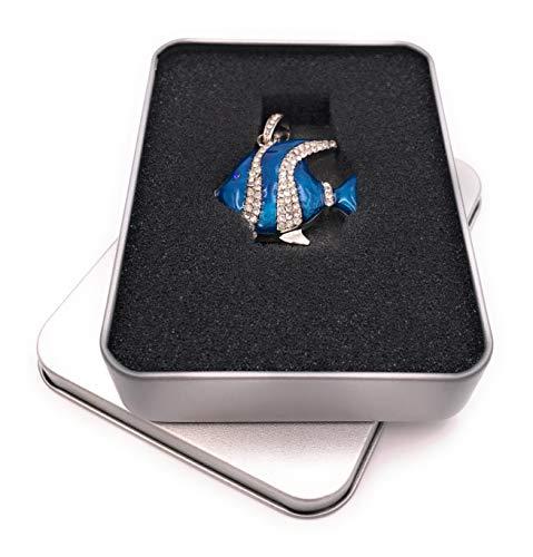 Onwomania vis zee aquarium blauw glitter strass USB-stick in aluminium geschenkdoos diverse maten 32 GB USB 2.0
