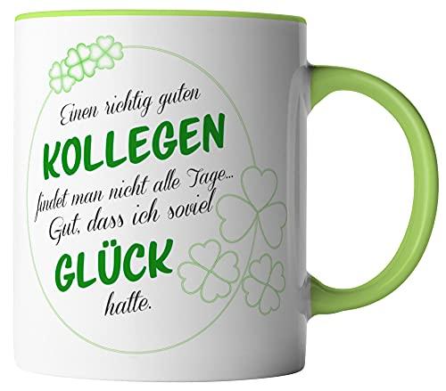 vanVerden Tasse - Einen richtig guten Kollegen findet man nicht alle Tage. Gut, das ich so viel Glück hatte - beidseitig Bedruckt - Geschenk Idee Kaffeetassen, Tassenfarbe:Weiß/Grün